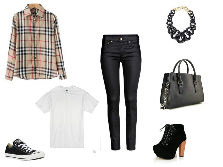 Премазан jeans and khaki plaid shirt