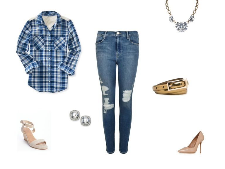 Скинни jeans and blue plaid shirt