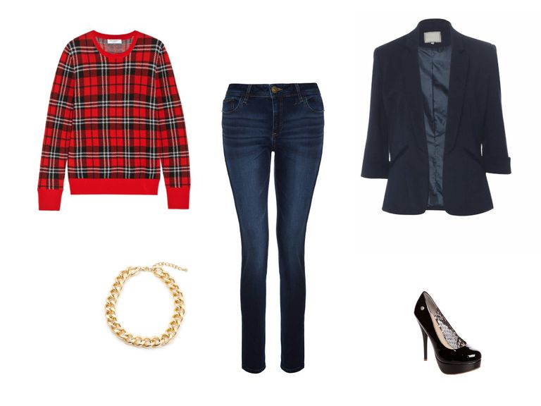 Фармерке and a plaid sweater