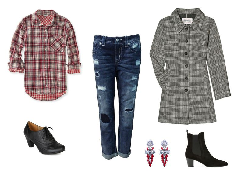 Дечко jeans with a plaid shirt and coat