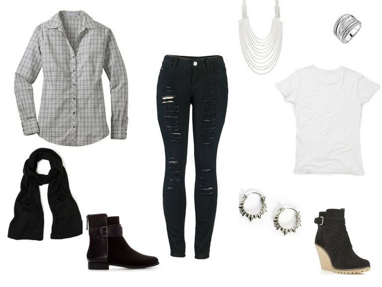 Дистресед black jeans and a grey shirt