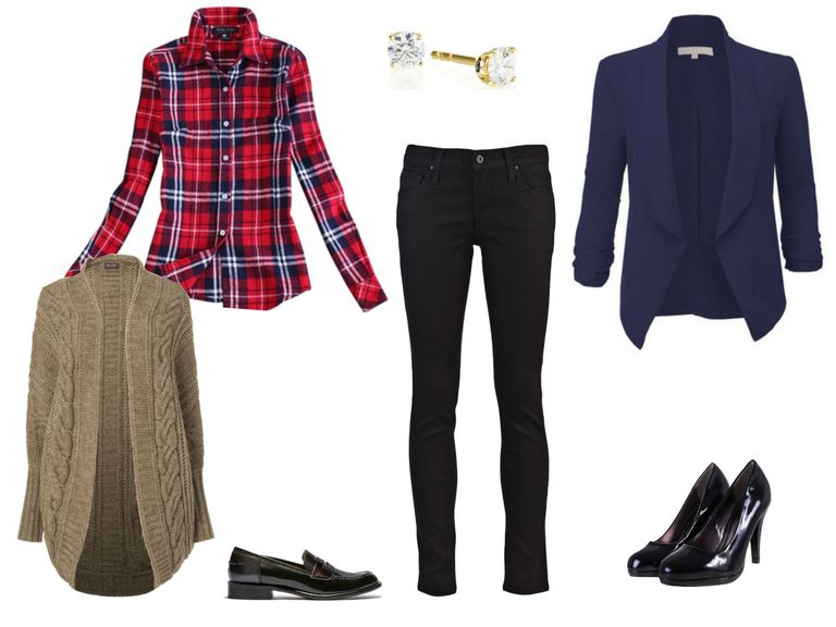 Црн jeans and red plaid shirt