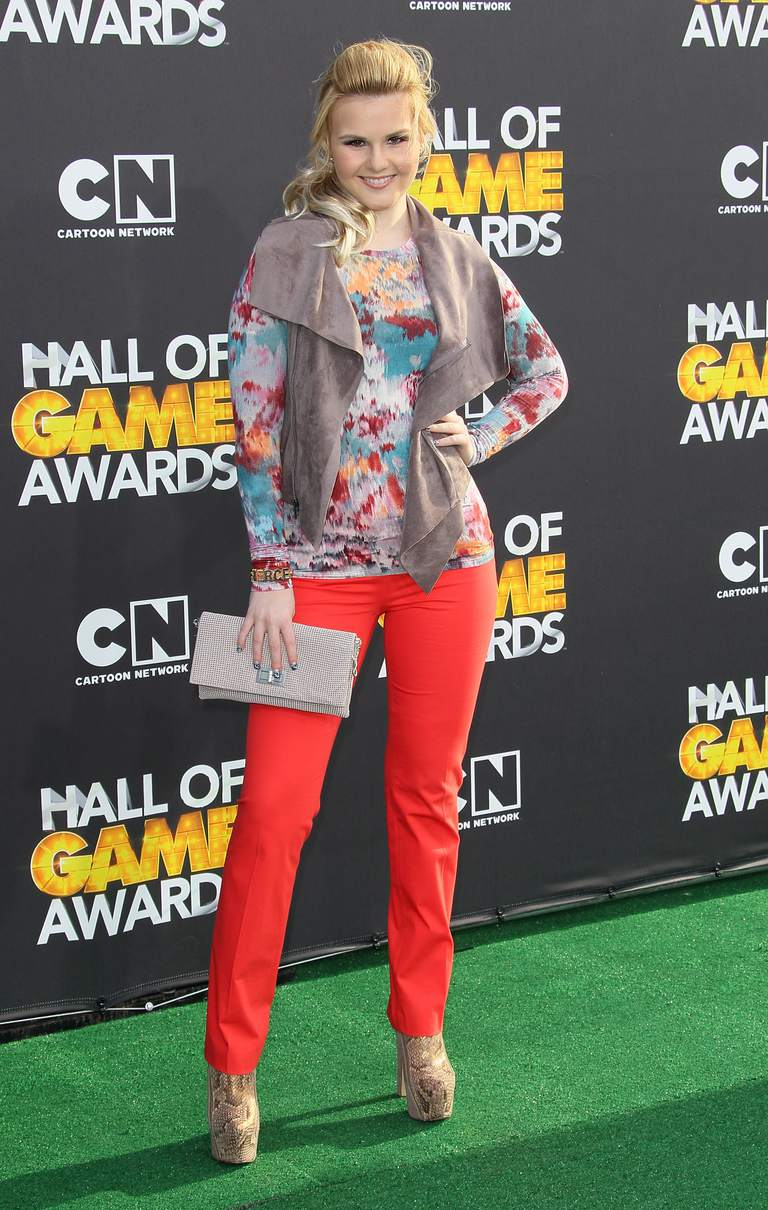 Ashlee Keating in red pants paired with a print.