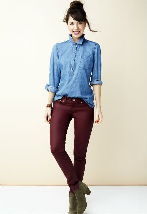 Eski Navy Colored Jeans and Chambray Shirt