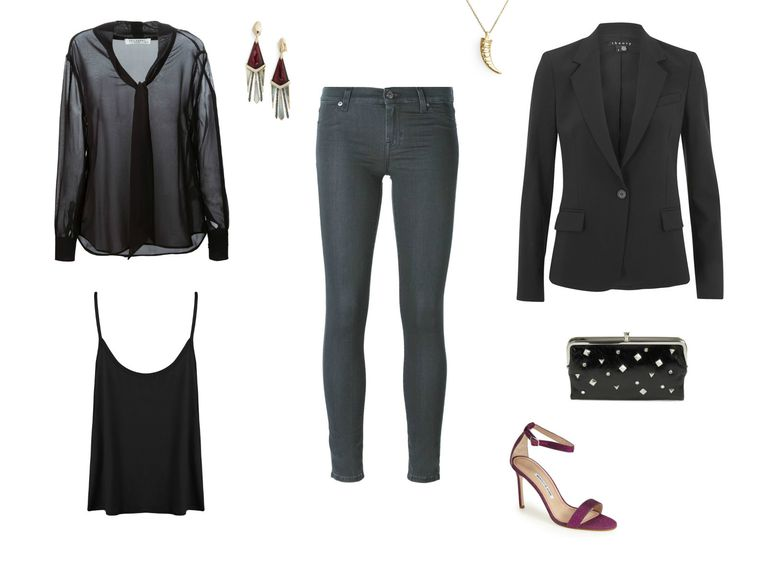 Grå jeans and sheer black blouse