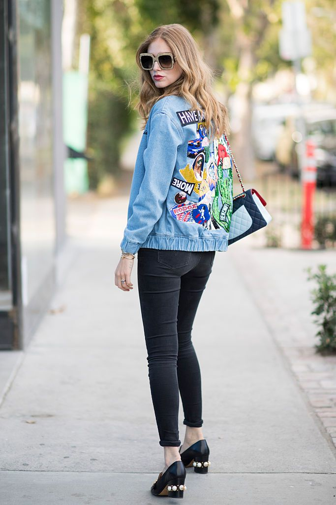 Denim jacket and black jeans street style