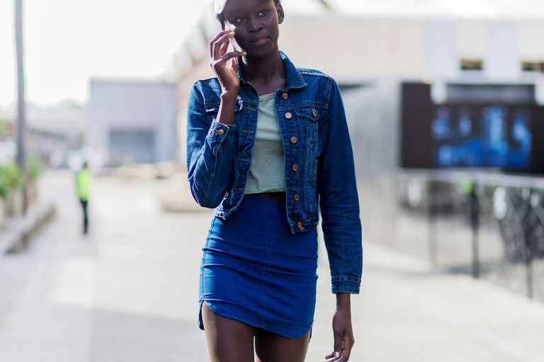 Gata style double denim outfit