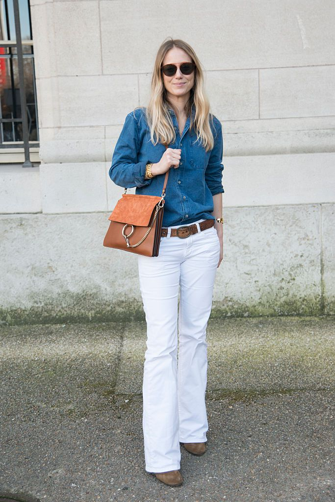 Denim shirt and white jeans outfit