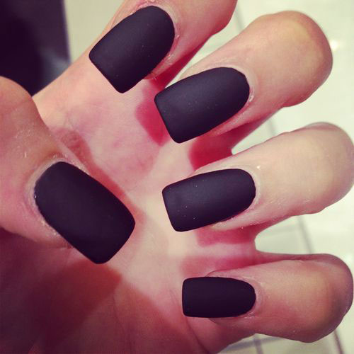 Lång Black Matte Nails