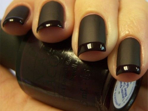 Medium Length Black Matte Nails