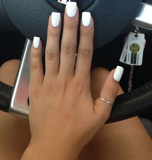 Lång White Matte Nails