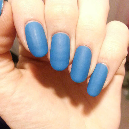 Lång Blue Matte Nails