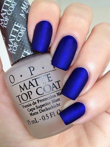Lång Dark Blue Matte Nails