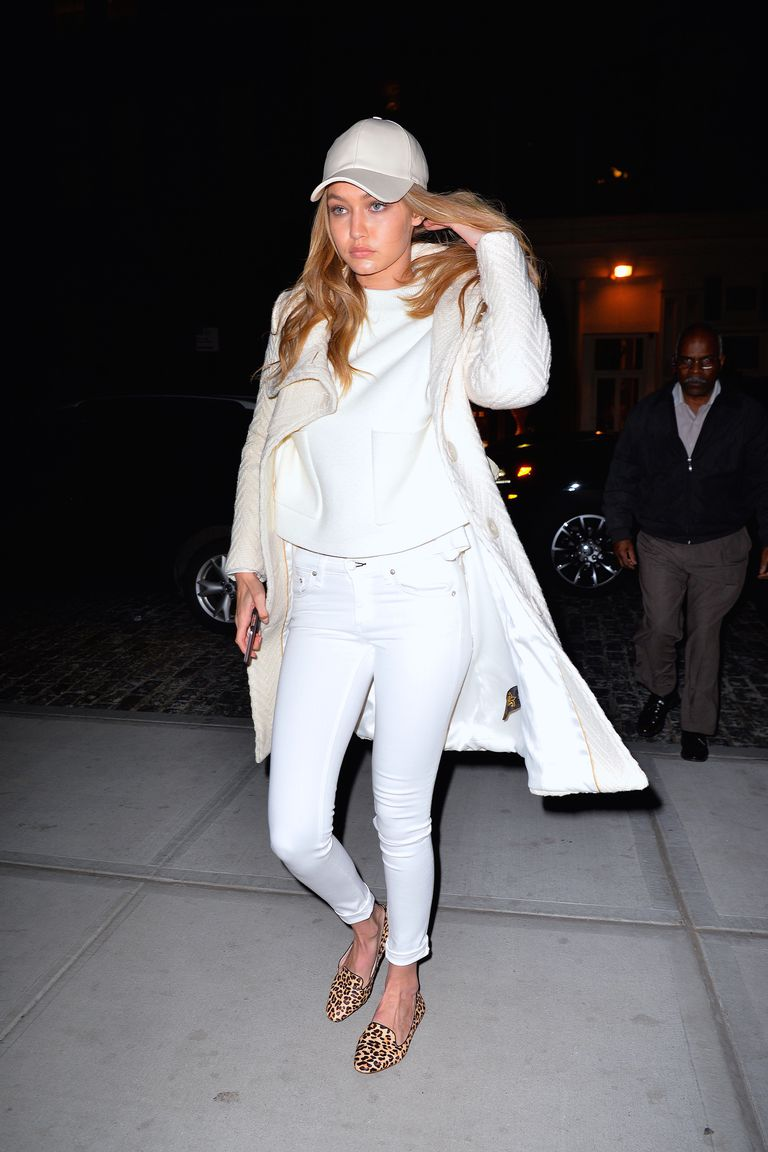 Gigi Hadid fashion in white jeans