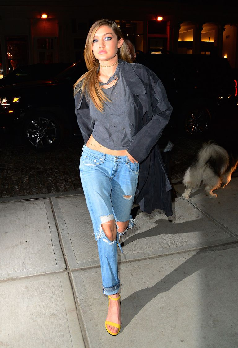 Gigi Hadid wears ripped boyfriend jeans in New York City