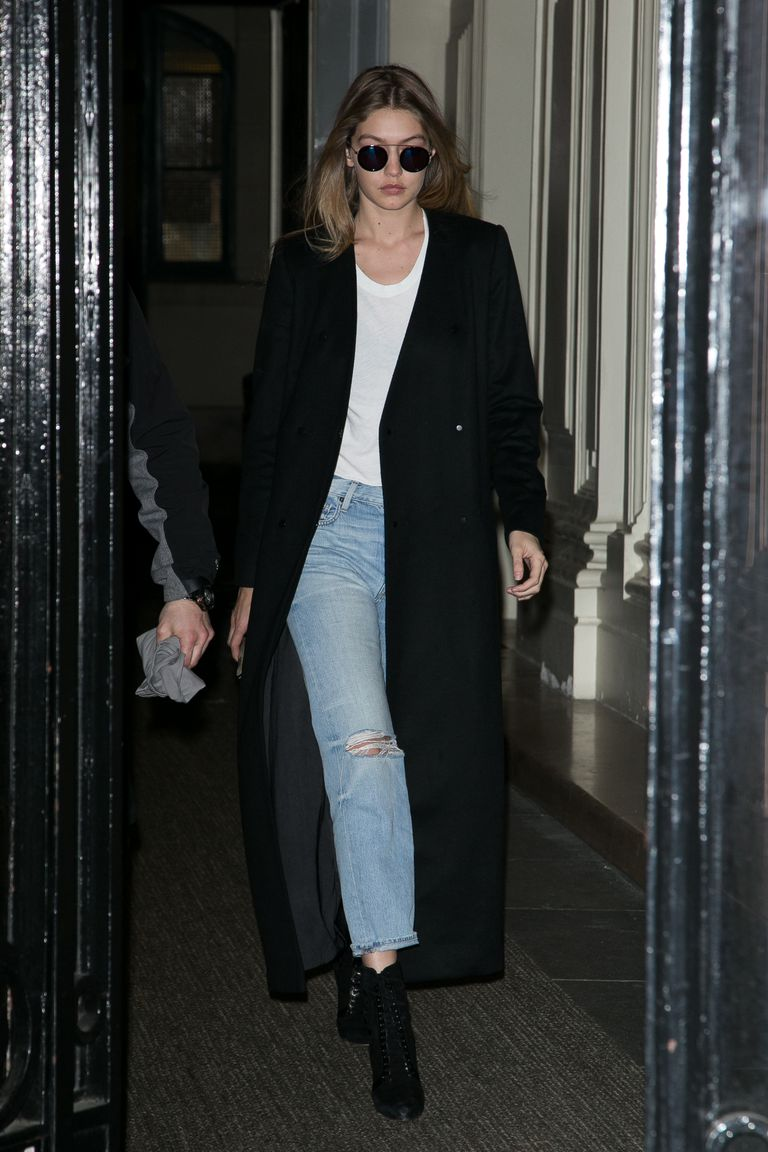Gigi Hadid wears slouchy jeans for a night out
