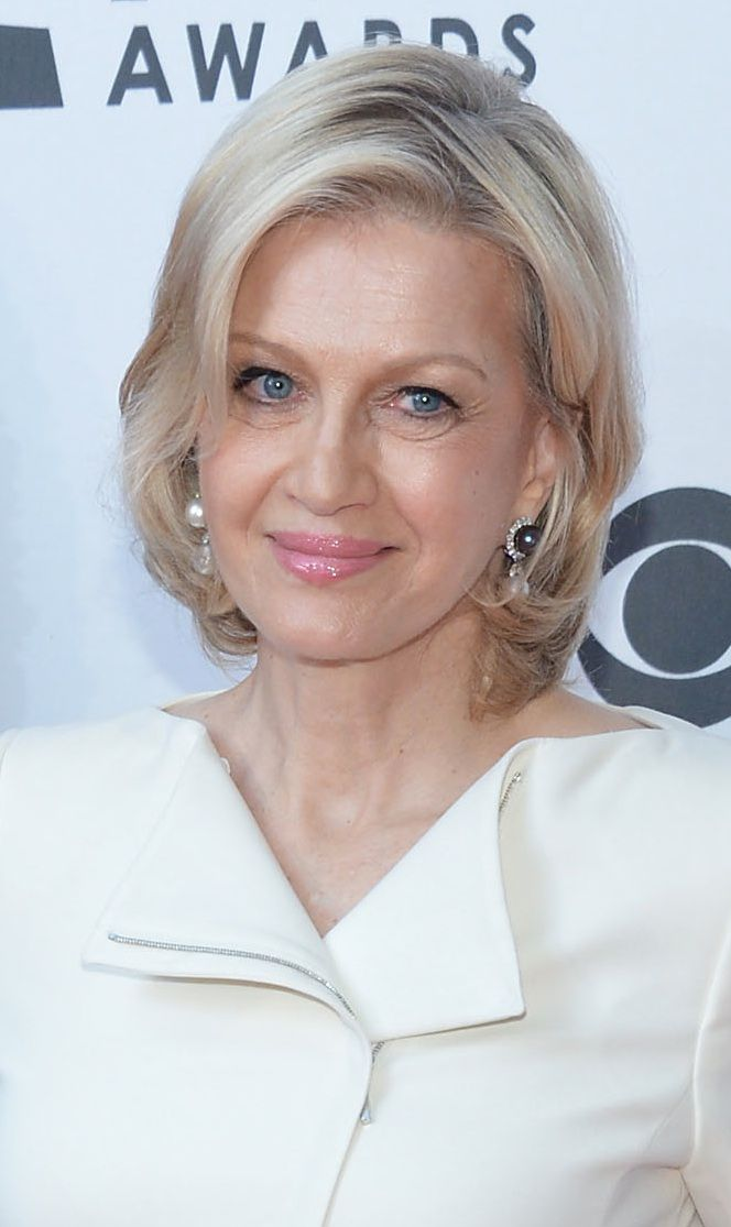 Diane Sawyer has naturally brown hair, but colors her hair blonde