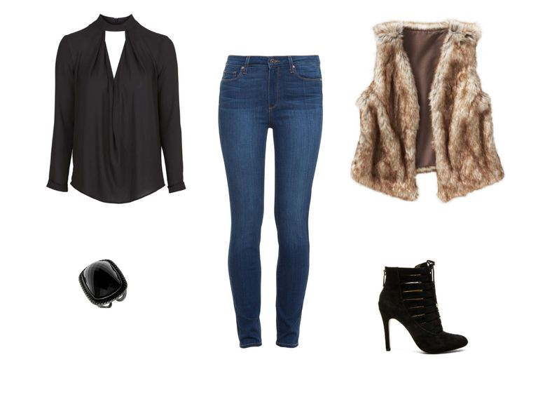 קוקטייל party outfit with jeans and fur vest