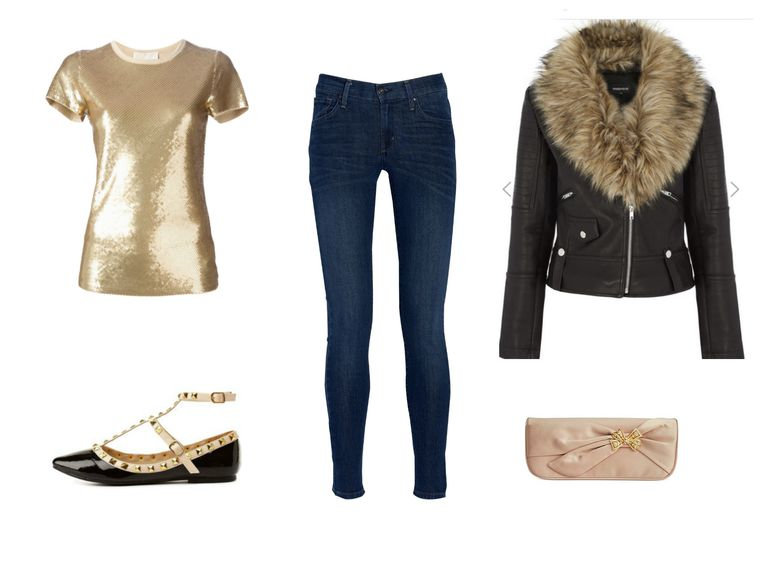 גִ'ינס outfit with gold shirt and leather jacket