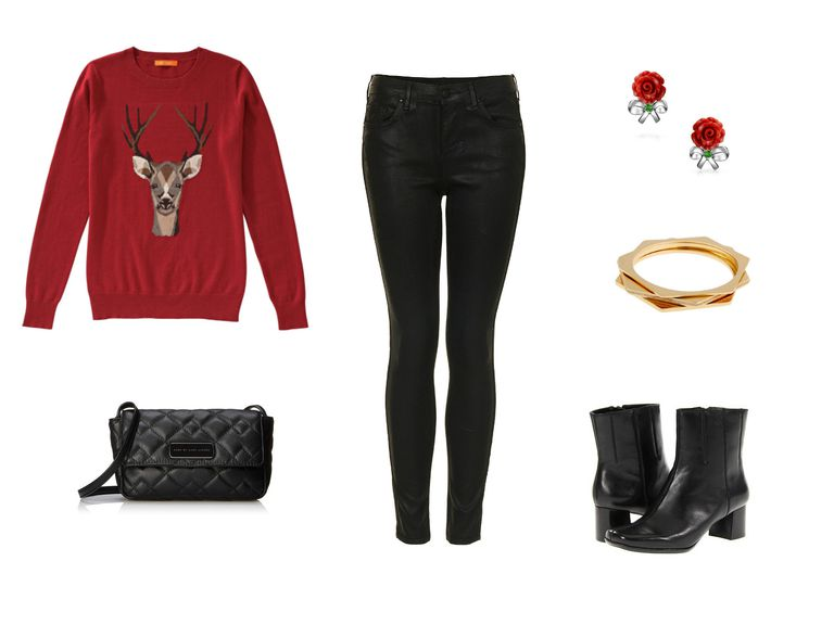 אַיָל sweater and black jeans outfit