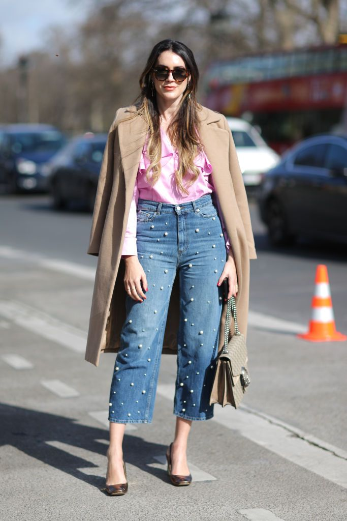 stradă style cropped jeans with pearls