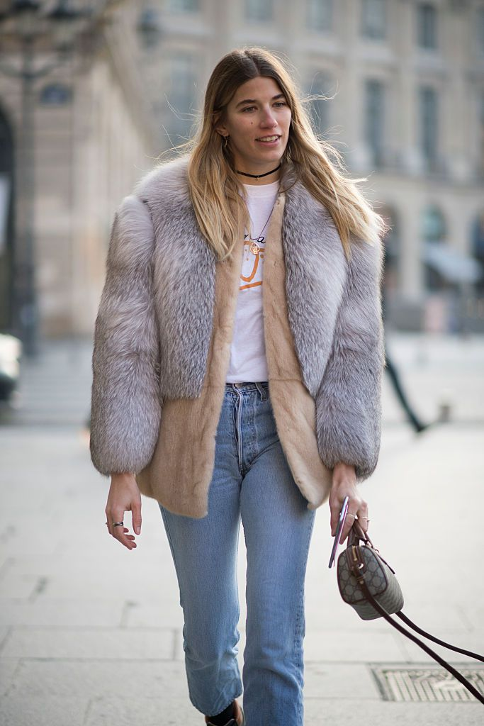 Stradă style fur coat and jeans
