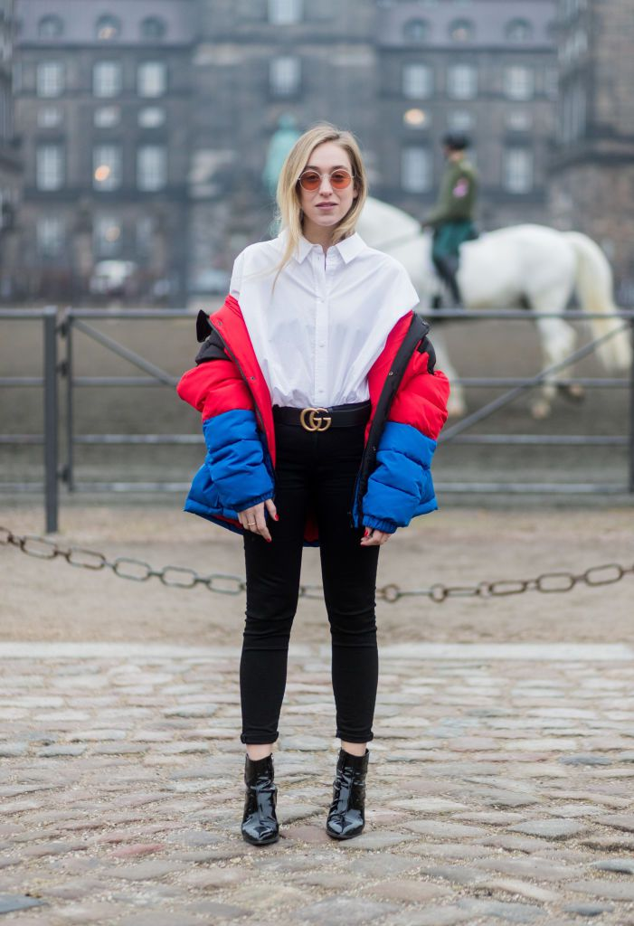 Stradă style jeans and puffer coat