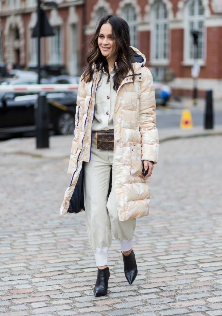 utca style in a puffer coat and jumpsuit