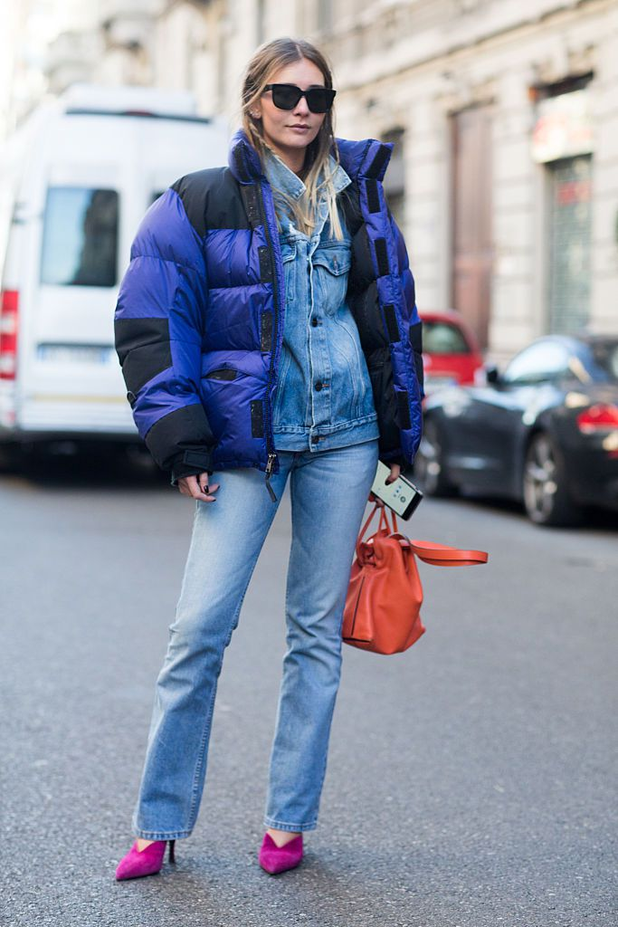 utca style in denim and a puffer jacket