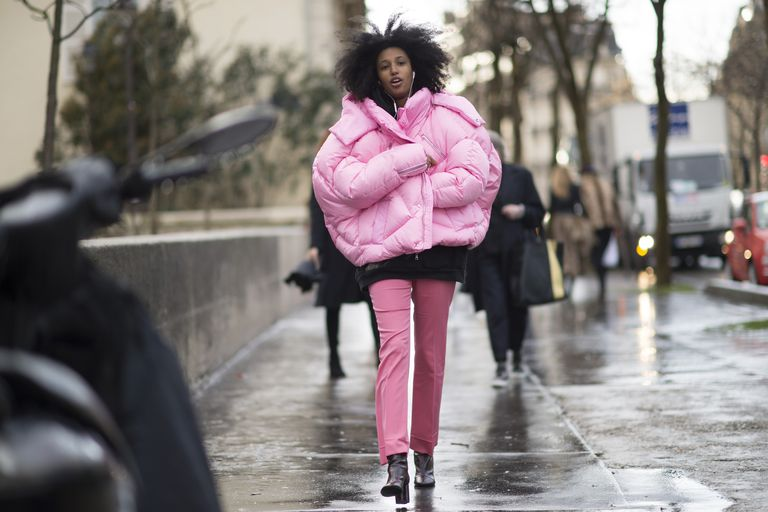 utca style in pink puffer jacket