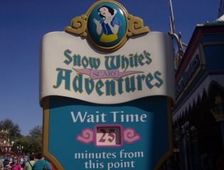 Snö White's Scary Adventures sign