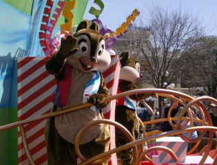 Chip and Dale on Disney float