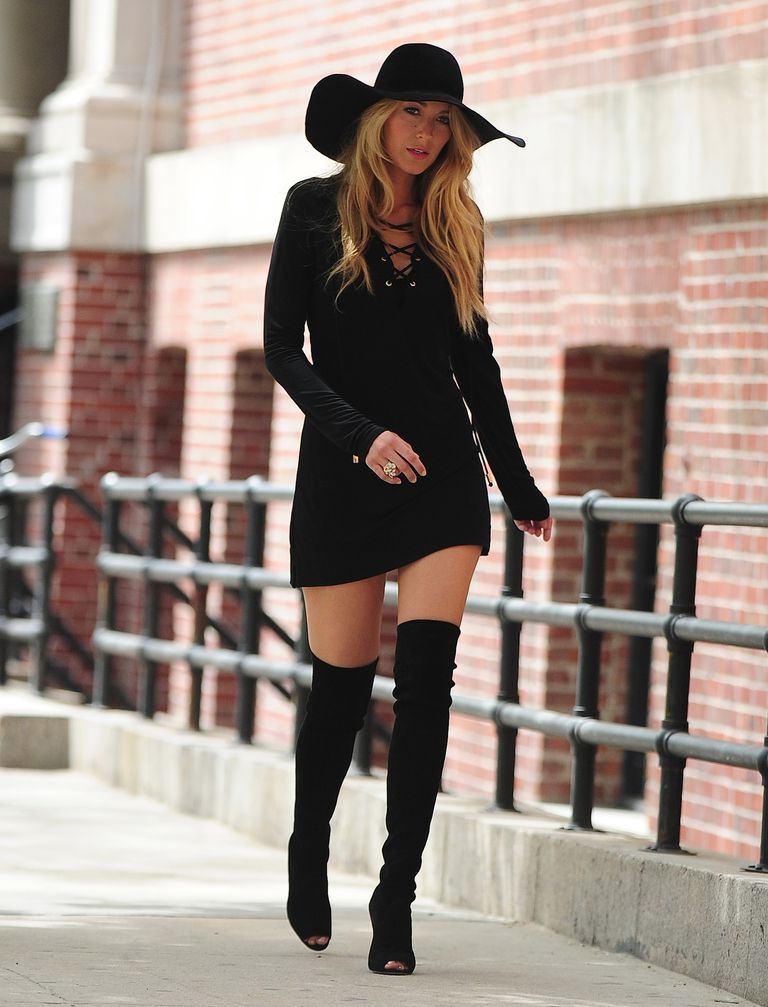 Blake Lively in Thigh-high boots