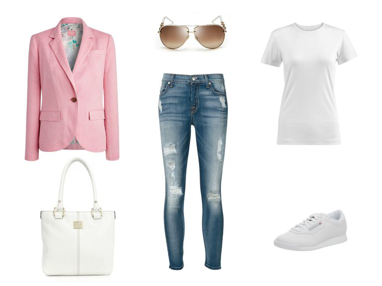 संगठन idea - cropped jeans and pink blazer