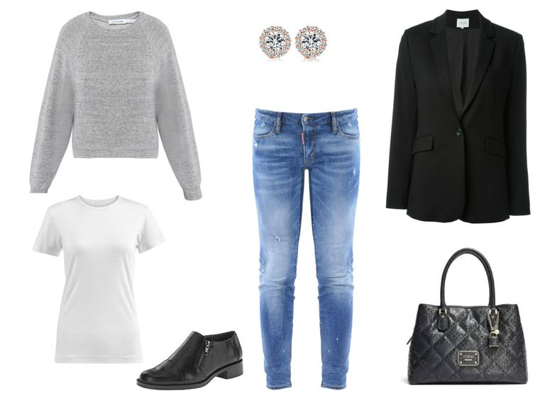 Utrusta idea - cropped jeans and a black blazer