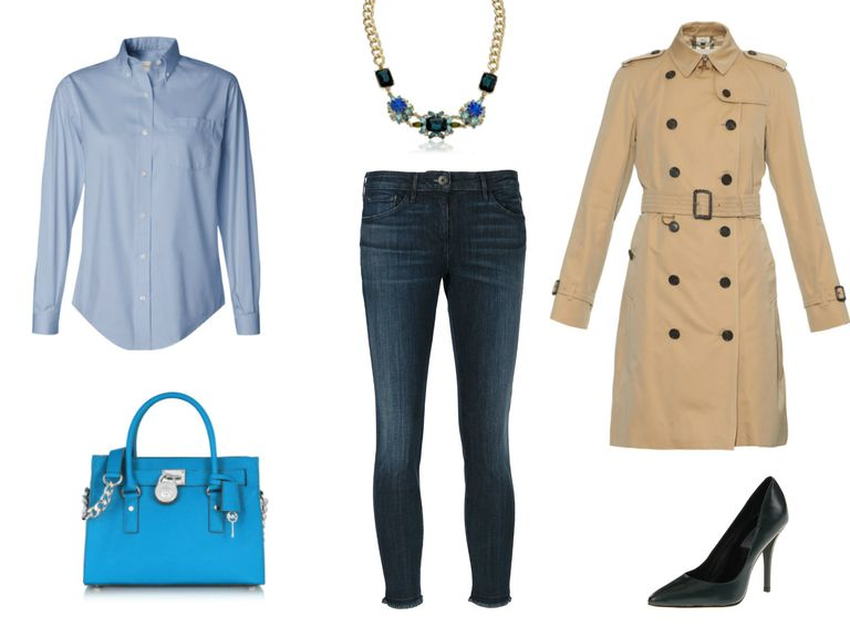 संगठन ideas - cropped skinny jeans and blue button-down