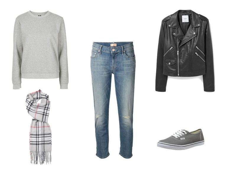 संगठन idea - cropped jeans and leather jacket