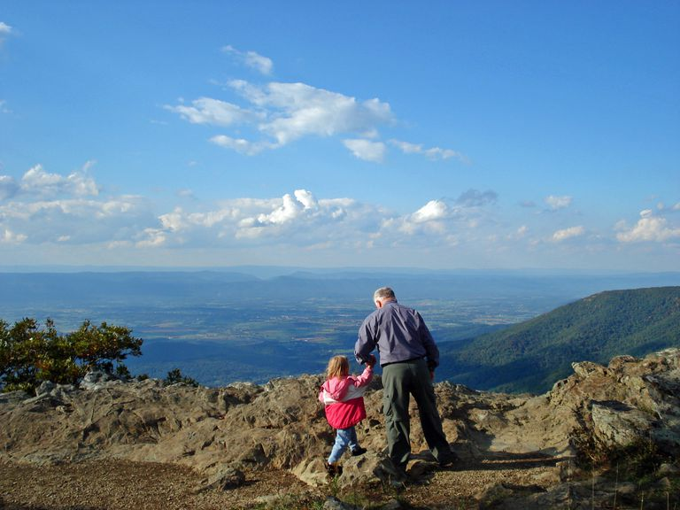 Activ senior hiking with granddaughter