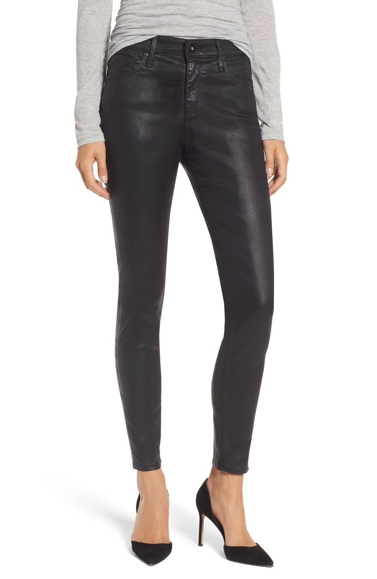 Negru coated jeans for women