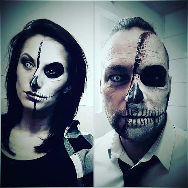 Skelet Faces for Scary Halloween Costume Ideas for Couples