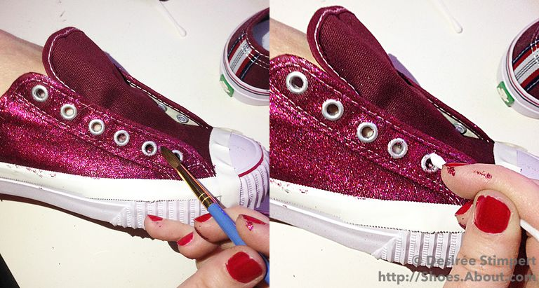 Лево image shoes glitter/adhesive mix being applied around the eyelets of sneaker; right image shows glitter being wiped from shoes' eyelet.