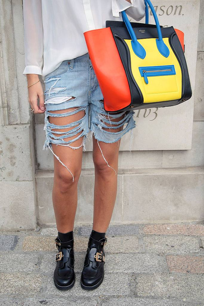 улица style Shredded Jean Shorts and Celine Bag