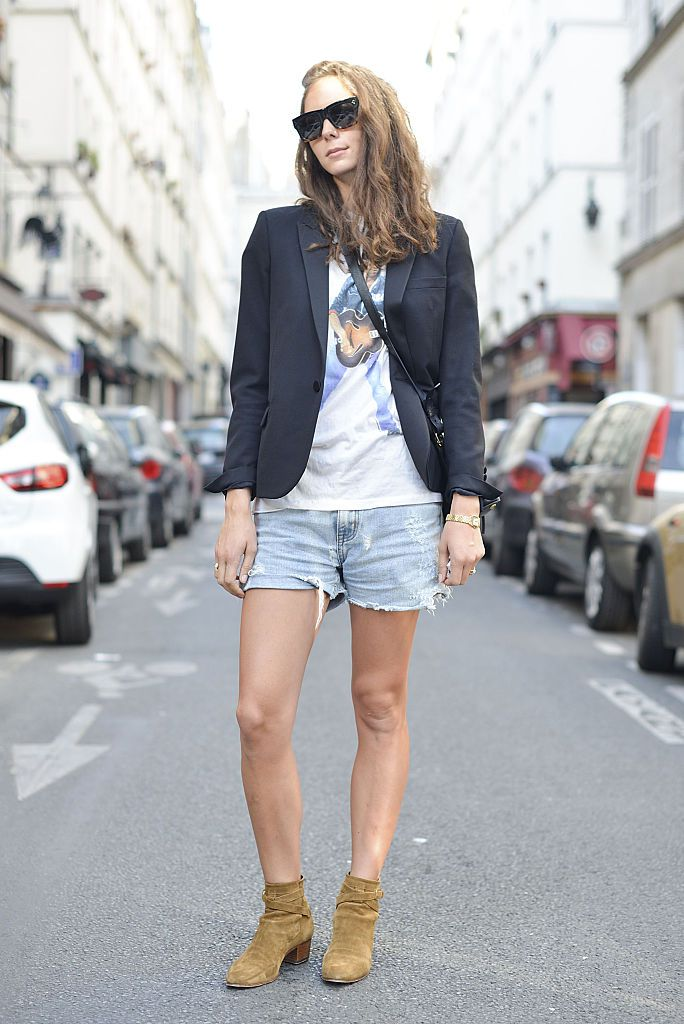 Улица style denim shorts and a cross body bag by Saint Laurent