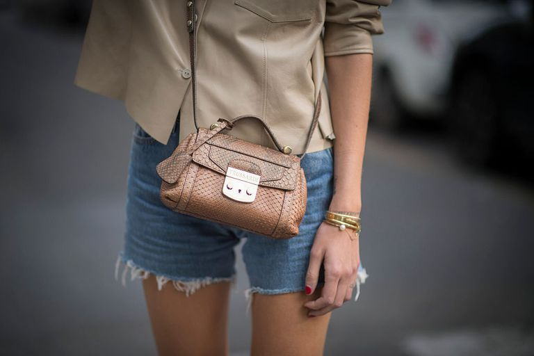 Trusardi Bag and Cut-Off Denim Shorts street style photo