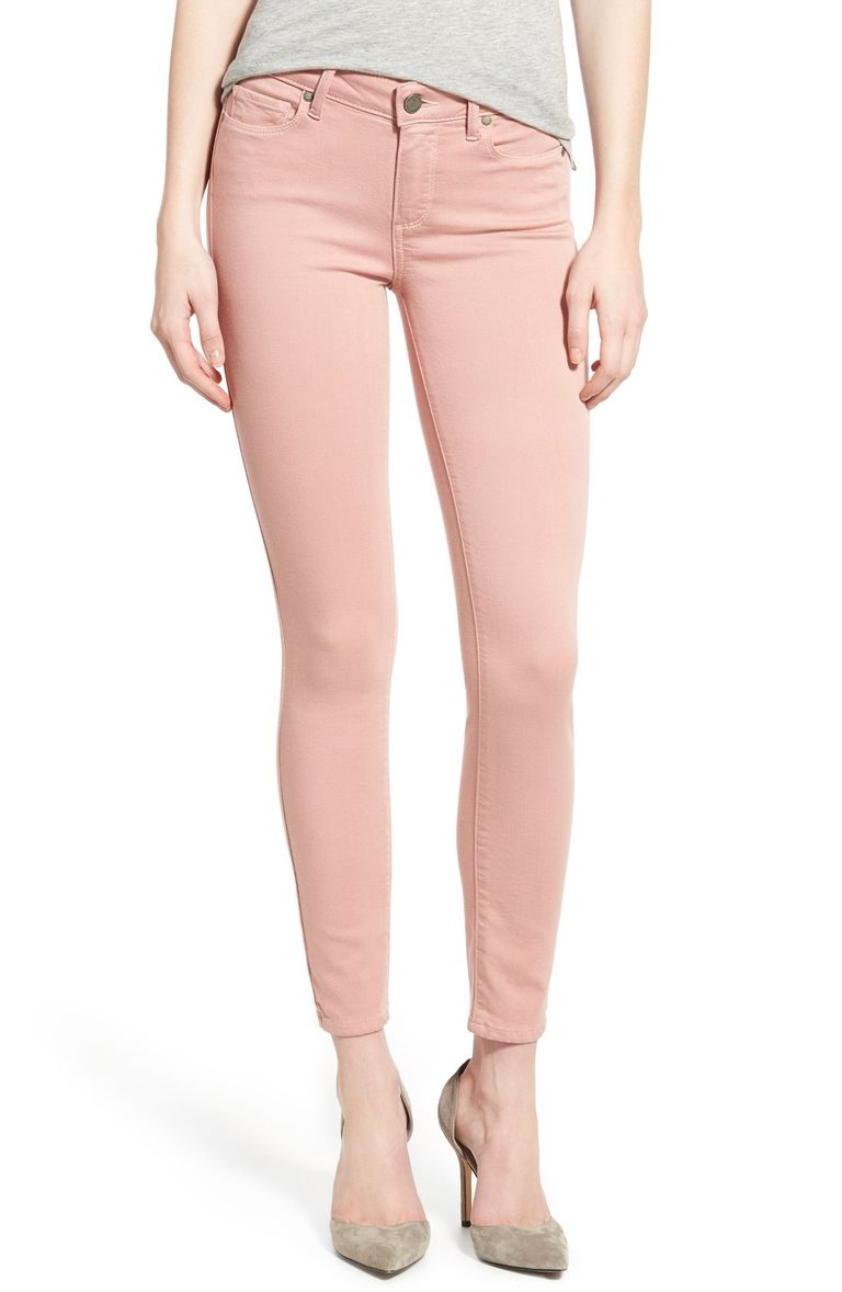 Paige Verdugo Ankle Skinny Jeans in Soft Pink