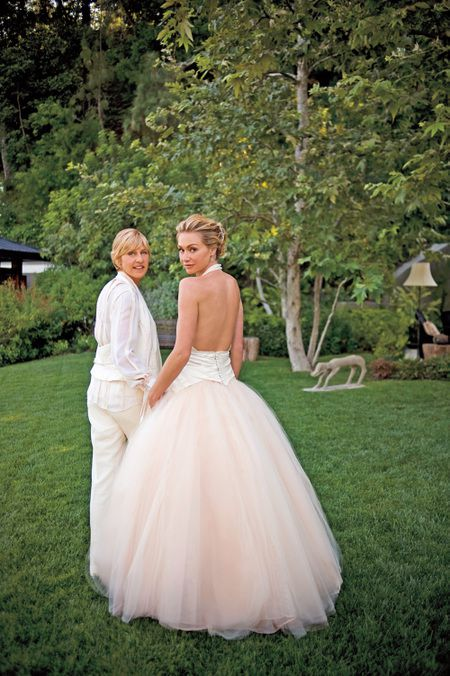 Portia de Rossi in Zac Posen wedding dress