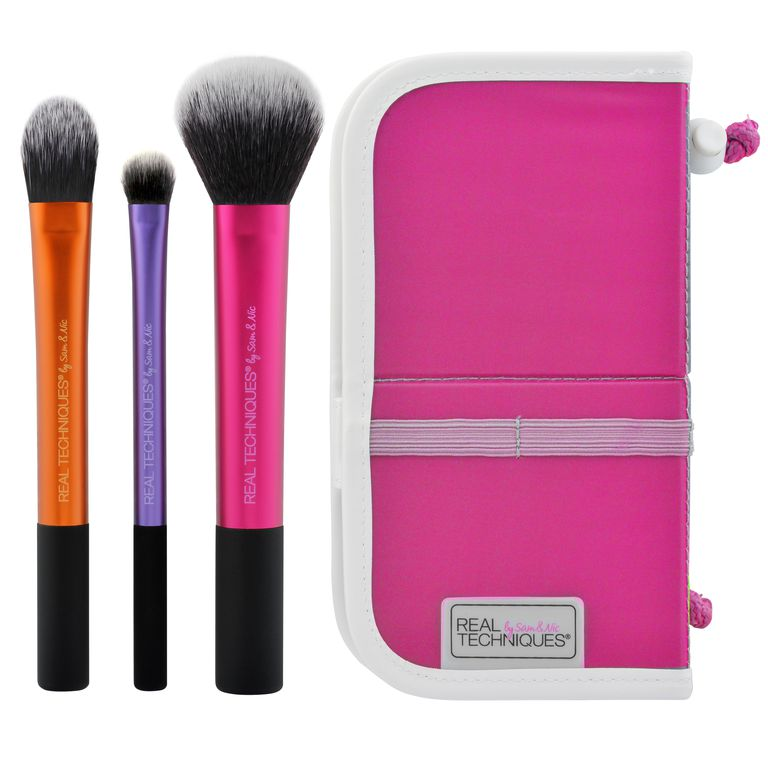 Stvaran Techniques Travel Essentials Makeup Brush Set with 2-in-1 Case + Stand