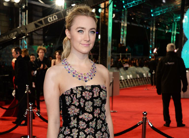 Saoirse Ronan with half updo on red carpet