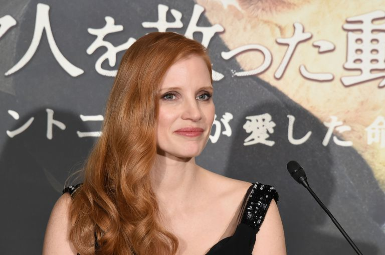 Jessica Chastain with side-swept hair