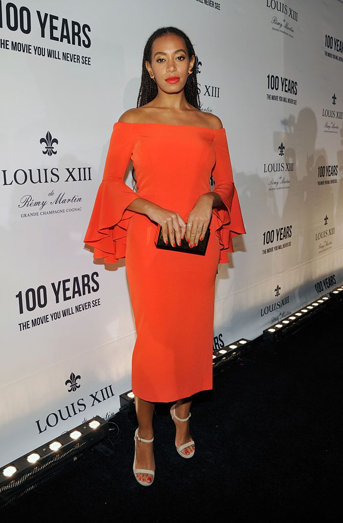 Singer Solange Knowles attends Louis XIII Celebration of '100 Years' The Movie You Will Never See, starring John Malkovich at a private residence
